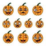 Комплект значка тыкв шаржа хеллоуина милый Стоковые Фото