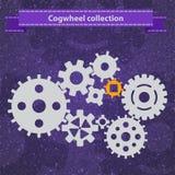 Комплект значка установок механизма шестерни Cogwheel Стоковое фото RF