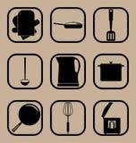 Комплект значка утварей кухни простой Стоковые Изображения