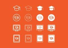Комплект значка учить и eLearning стоковое фото