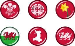 Комплект значка Уэльса плоский Стоковые Изображения