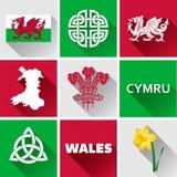 Комплект значка Уэльса плоский Стоковая Фотография RF
