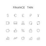 Комплект значка финансов тонкий иллюстрация штока
