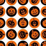 Комплект значка хеллоуина жизнерадостных тыкв Безшовная предпосылка Стоковая Фотография