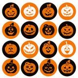Комплект значка хеллоуина жизнерадостных тыкв Комплект значка Стоковое фото RF