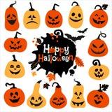 Комплект значка хеллоуина жизнерадостных тыкв Комплект значка Стоковая Фотография