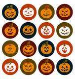 Комплект значка хеллоуина жизнерадостных тыкв Комплект значка Стоковые Изображения RF
