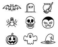 Комплект значка хеллоуина нарисованный рукой Стоковая Фотография