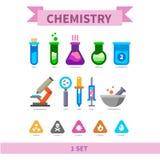 Комплект значка цвета химии плоский Стоковое фото RF