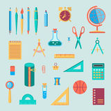 Комплект значка цвета школьных принадлежностей Стоковое Изображение