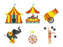 Комплект значка цирка Винтажный комплект искусства зажима также вектор иллюстрации притяжки corel Стоковые Фото