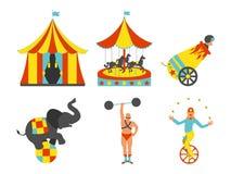 Комплект значка цирка Винтажный комплект искусства зажима также вектор иллюстрации притяжки corel Стоковое Изображение RF