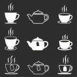Комплект значка чая Стоковое Изображение
