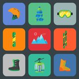 Комплект значка лыжи и сноуборда плоский Стоковые Фото