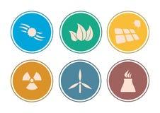 Комплект значка энергии плоского †дизайна « Стоковые Изображения