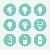 Комплект значка электрической лампочки голубой, плоский дизайн также вектор иллюстрации притяжки corel Стоковые Изображения