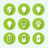 Комплект значка электрической лампочки зеленый, плоский дизайн также вектор иллюстрации притяжки corel Стоковая Фотография RF