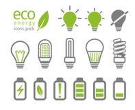Комплект значка электрической лампочки и батареи Eco также вектор иллюстрации притяжки corel Стоковые Фото
