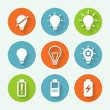 Комплект значка электрической лампочки красочный, плоский дизайн также вектор иллюстрации притяжки corel Стоковые Фото