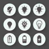 Комплект значка электрической лампочки серый, плоский дизайн также вектор иллюстрации притяжки corel Стоковая Фотография