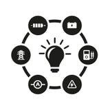 Комплект значка электричества вектора черный Стоковое Фото