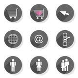 Комплект значка людей мира сети покупок плоский современный Стоковое Фото