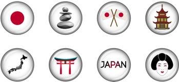 Комплект значка Японии лоснистый Стоковая Фотография RF