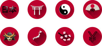 Комплект значка Японии плоский Стоковая Фотография