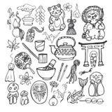 Комплект значка японской темы традиционный Стоковое Изображение RF