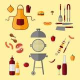Комплект значка BBQ иллюстрация штока
