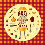 Комплект значка BBQ Стоковая Фотография