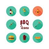 Комплект значка BBQ Стоковые Фото