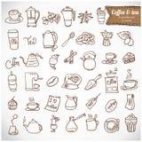 Комплект значка c кофе и чая Dooodle. Стоковые Изображения