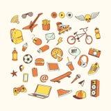 Комплект значка Doodle Покрашенное собрание нарисованное рукой элементов doodle для дизайна Установите для мальчика или подростка стоковые фотографии rf
