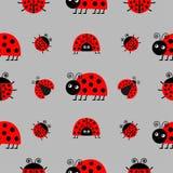 Комплект значка Ladybird Ladybug Собрание младенца смешное насекомое Безшовная упаковочная бумага картины, шаблон ткани Серая пре иллюстрация штока