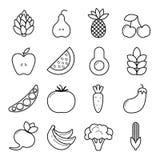 Комплект значка Vegan Конспектируйте овощи и плодоовощи изолированные на белой предпосылке EPS10 Стоковая Фотография