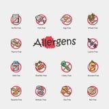 Комплект значков аллергенов изолированных на светлой предпосылке Стоковое Фото