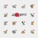 Комплект значков аллергенов изолированных на светлой предпосылке Стоковое Изображение RF