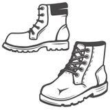 Комплект значков ботинок изолированных на белой предпосылке Изображения для Стоковое Изображение