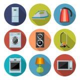 Комплект значков бытовых приборов плоских Стоковые Изображения