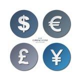 Комплект значков валюты, доллар вектора, евро, фунт иллюстрация штока