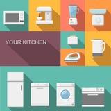 Комплект значков вектора кухонных приборов плоских Стоковое Изображение RF