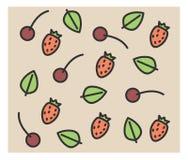 Комплект значков вектора: клубника, вишня, мята Стоковые Изображения RF