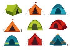 Комплект значков вектора располагаясь лагерем шатра на белой предпосылке Стоковое Изображение RF