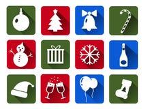 Комплект значков вектора рождества белых Квартира с длинными тенями Стоковая Фотография RF