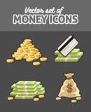 Комплект значков вектора с деньгами иллюстрация вектора