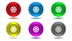 Комплект значков в цвете, иллюстрации, фильме кино Стоковые Изображения