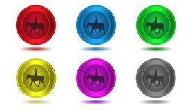 Комплект значков в цвете, лошади, иллюстрации Стоковое Изображение