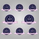 комплект значков годовщины ретро иллюстрация вектора
