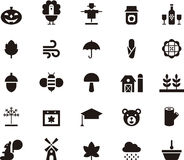 Комплект значков глифа осени Стоковое Изображение
